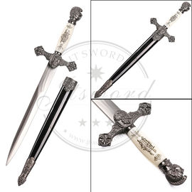 China 35cm Medeival Masonic Ritual Sword Antique Silver Color Double - Edged Blade supplier